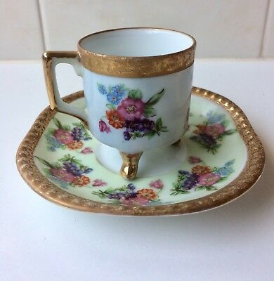 Beautiful Vintage Footed Teacup And Saucer - Gilt Tri Footed - 1920's