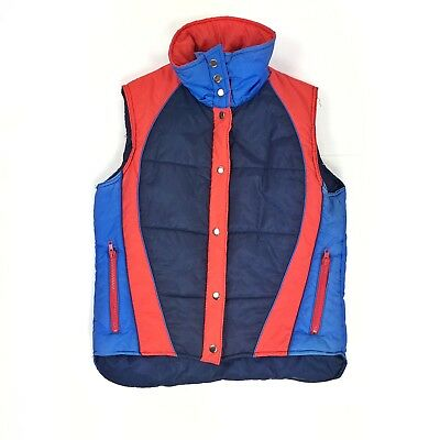 Vtg 70s 80s Retro Nelson Hall Men's Puffy Vest Blue Red Size Medium