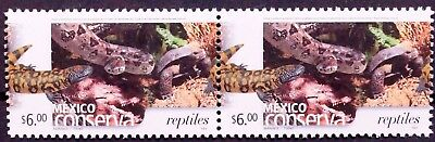 Mexico Conservation Perm Series Hor Pair Reptiles $6 Snake Salamander Coco MNH