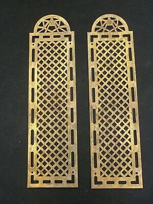 A PAIR of Vintage French Brass Finger Plates, reclaimed, architectual salvage