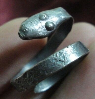 Ancient Roman Senatorial Silver ring SNAKE museum quality Amazing Stunning