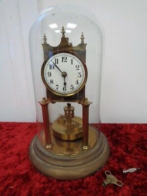 Vintage/Antique? Torsion Brass Clock In Original Glass Dome FWO