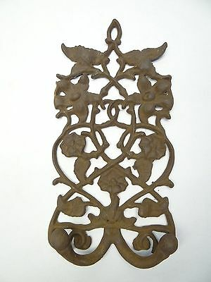 Rustic Iron Metal Decorative Floral Architectural Towel Coat Hanger Dual Hook