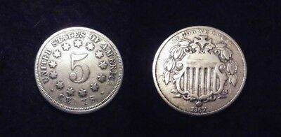 """USA:  BELLE  FIVE CENT 1867 """"SHIELD""""...RARE !!...(Paypal possible)"""