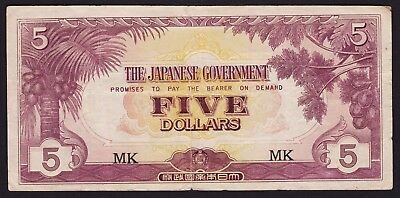 Malaya Japan Occupation WWII Five Dollar Banknote 1942 P-M6c