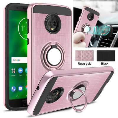 For Moto G7 Plus E5 G6 Play G7 Power Case Hybrid Armor Ring Stand Holder Cover