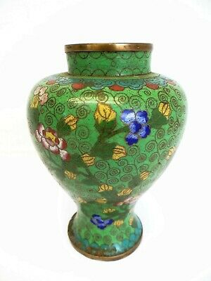 Old Cloisonné Enamel China Chinese Asian Decorative Green Yellow Vase
