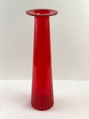 Mid Century Modern ATOMIC Space Age RED Hand Blown LAVA Art Glass TALL Vase