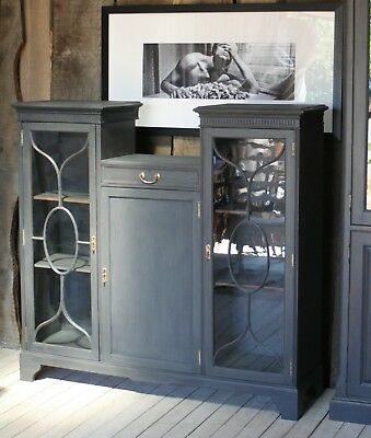 Graphite painted mahogany cabinet display cupboard sideboard