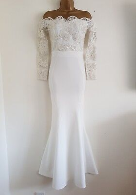 NEW D*benh*ms 6-16 White Lace Sequin Bardot Off Shoulder Bridal Wedding Dress