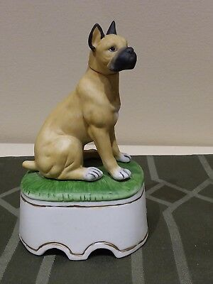Hoffman 1980 Boxer Empty Dog Decanter Music Box Vintage