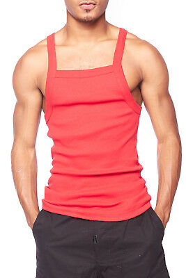 4bd7b11ae7f72c Mens Basic Solid Square Cut Skinny Fit Workout Rib G-unit Muscle Tank Top  TAK003