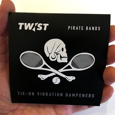 New! PIRATE BANDS x2 Tie-On Vibration Dampeners - TWIST Tennis - Free UK Postage