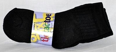 Black 1/4 Ankle Socks 3 Pair Kids Preschool Size 5-6 1/2 Made In The USA!!