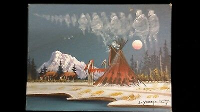 Original Signed Native American Painting by Navajo Indian Johnny Yazzie 12 X 9