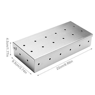 Thick Stainless Steel Smoker Box for BBQ Wood Chips Grilling Utensils