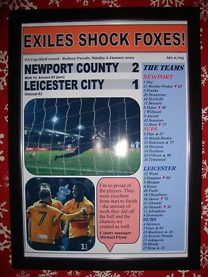Newport County 2 Leicester City 1 - 2019 FA Cup - framed print