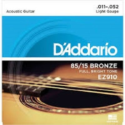 D'addario EZ910 American Acoustic Bronze Light Guitar Strings 11-52