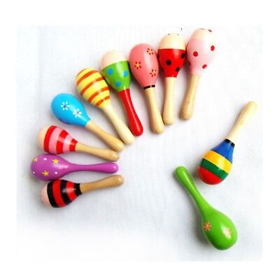 9X Colorful Wooden Maraca Baby Child Musical Instrument Rattle Shaker Party Toy
