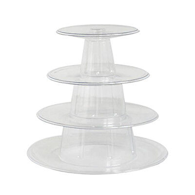 4 Tier Round Clear Plastic Cupcake Stand Party Wedding Dessert Cake Stand