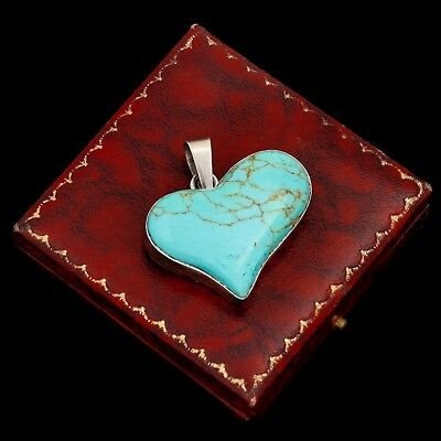 Vintage Sterling Silver Mexican TAXCO Southwest Turquoise Heart Necklace Pendant