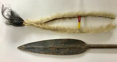 Antique African Masai Lion Spear Iron & Carved Wood Handle 68 Inches