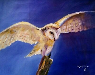 """FLYING  barn owl oil on canvas 12x16"""" original painting intense colors awesome!"""