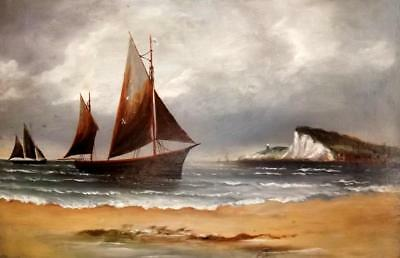 CHARLES BEATTY Act 1878-1956 British Antique Oil Painting Shipping off HOLLAND