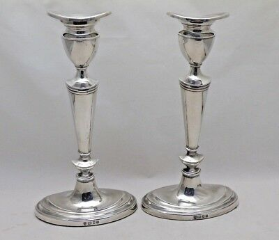 """Pair Vintage Solid Sterling Silver Regency Style Oval Base Candlesticks 8"""" Tall"""