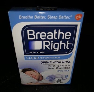 *NIB* Breathe Right Nasal Strips *Clear for Sensitive Skin Sm/Med 30 Count Box
