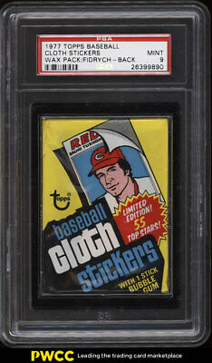 1977 Topps Cloth Stickers Wax Pack w/ Mark Fidrych RC BACK PSA 9 MINT (PWCC)