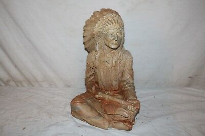 """Vintage 1940's Indian Chief Ciigar Store Carnival Chalkware 14"""" Statue Sign"""