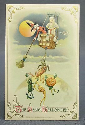 1914 Halloween Postcard Winsch Witch Ghost Hot Air Balloon Attack Vegie People