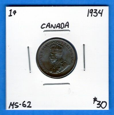 Canada 1934 1 Cent Small Penny Coin - Toned MS-62