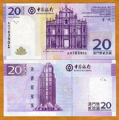 Macao / Macau, 20 Patacas, 2008, Bank of China, P-109 (109a), UNC