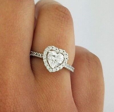 Solid 14k White Gold 1 CT Diamond Heart Engagement Wedding Ring Propose Promise