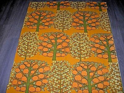 Vintage 60s 70s  bold orange trees print cotton fabric length