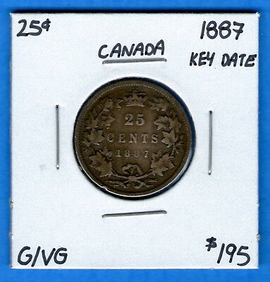 Canada 1887 25 Cents Twenty Five Cent Silver Coin - Key Date - G/VG