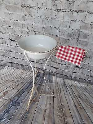 Antique French Wrought Iron Wash Stand with Original Enamel Bowl