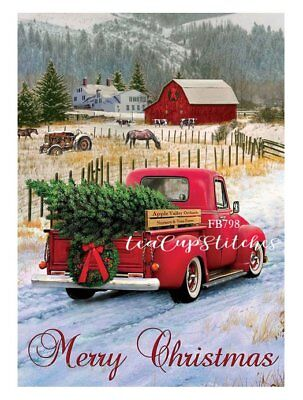 Vintage Home for the Holidays Red Truck~FABRIC PRINT~Merry Christmas~Block~798