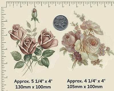 2 x Waterslide ceramic decals Decoupage Flowers Floral Pink Roses Bunch R32