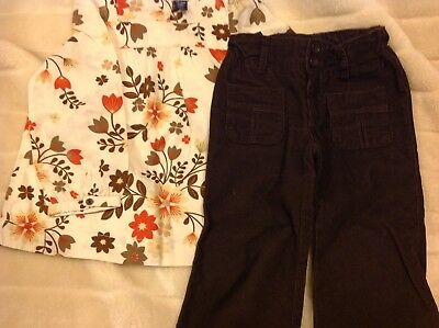 Baby Gap Autumn Leaves Smock Top & Cords - Age 3 Years