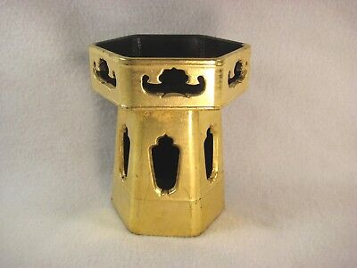 Antique Japanese Black & Gold Lacquer Wood Buddhist Offering Stand Hexagon