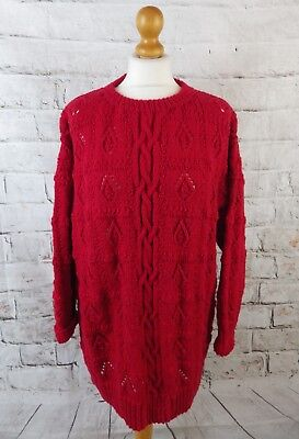 """Vintage cable knit jumper bust 48"""" M L red vibrant oversize slouchy wool mix"""