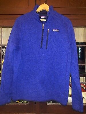 Patagonia Mens Better Sweater 14 Zip Fleece Pullover Blue Medium