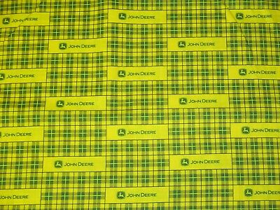 John Deere Plaid Yellow Modern Tractor Cotton Fabric By The Yard