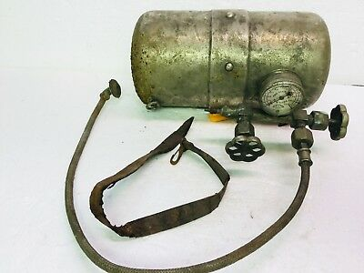 Antique Portable Compressed Air Tank Car Acessory Nickel Plated Vinton Co. Gauge