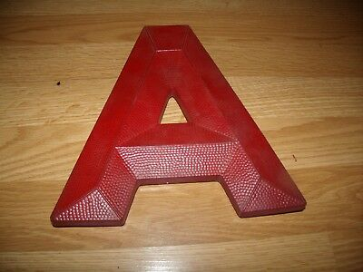 "Vintage ""A"" Sign Letter from Theater Marquee, 10"" RED, Bevelite -B"