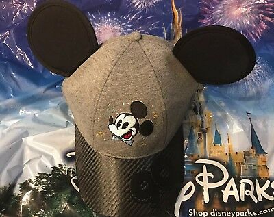 Disney Celebrate Mickey 90 Grey And Black Hat With Ears New