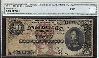 Extreme Rarity $20 1880 Silver Certificate Fr. 311 Bruce Wyman Fine